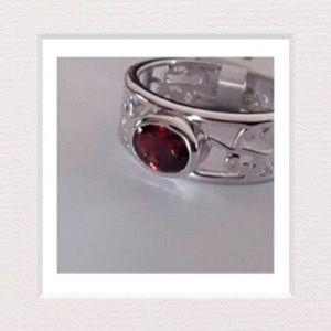 Jewelry - Natural Garnet & Sterling Silver Filigree Ring | 9